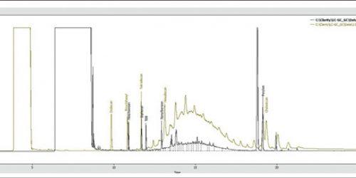 Hình 2: Tín hiệu của GC-FID cho xác định MOSH (màu xanh) và MOAH (màu đen)
